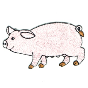 Iron on embroidered pink farm pig patch