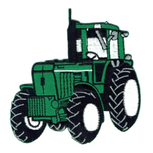 Iron on embroidered green farm tractor patch