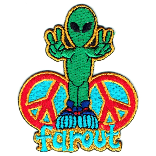 Iron on embroidered green farout alien peace patch