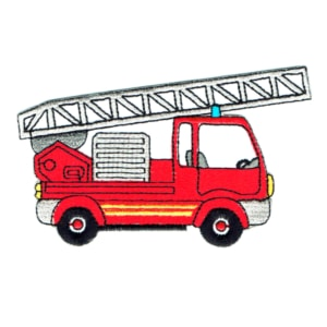 Iron on embroidered red fire engine patch