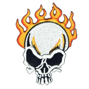 Iron on embroidered flame skull patch