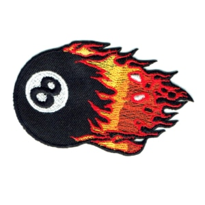 Iron on embroidered patch of an eight ball with flames