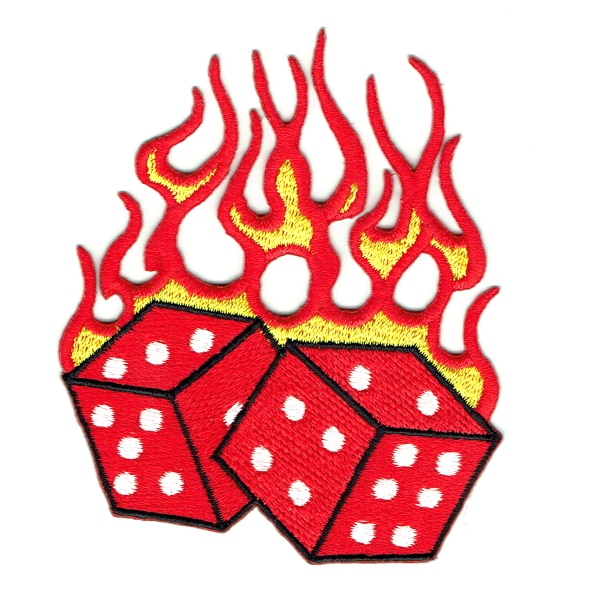 Iron on embroidered red hot flaming dice patch