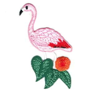Iron on embroidered tropical pink flamingo patch