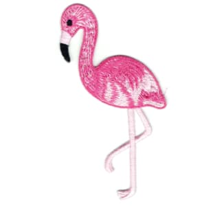 Iron on embroidered pink flamingo patch