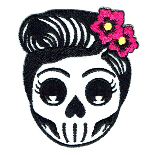 Iron on embroidered flower skull patch