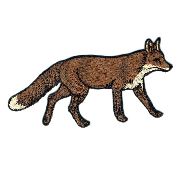 Iron on embroidered brown wild fox patch