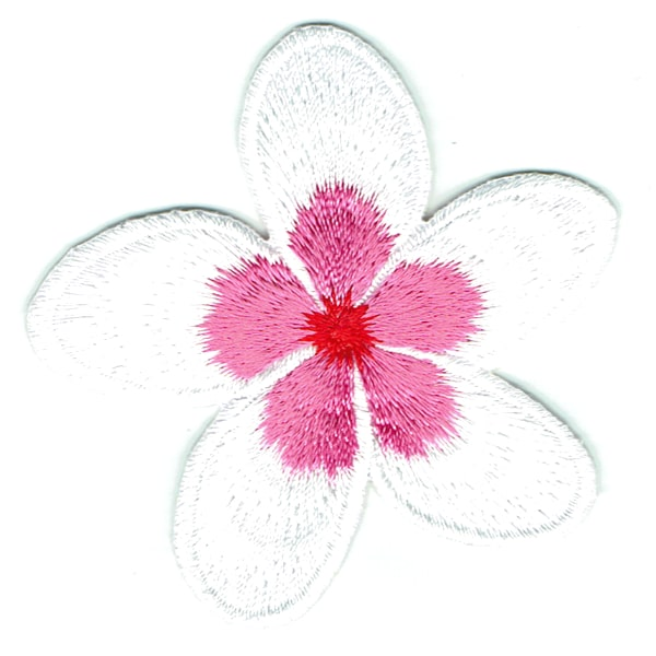 Iron on embroidered pink frangipani patch