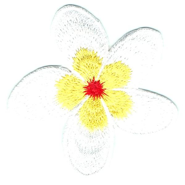 Iron on embroidered yellow frangipani patch