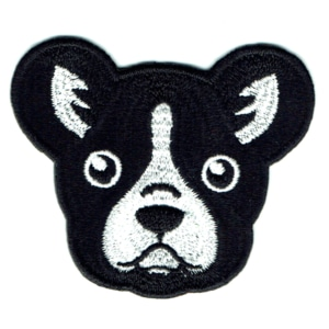 Iron on embroidered french bulldog face patch