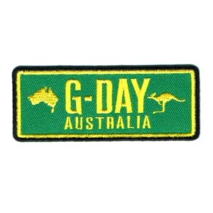 Iron on embroidered green Gday Australia patch