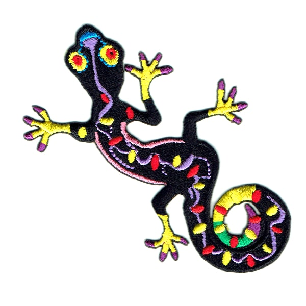 Iron on embroidered black gecko patch
