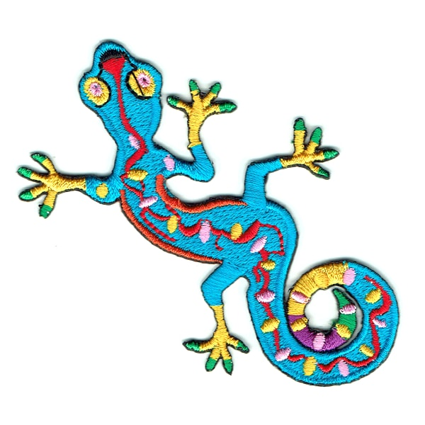 Iron on embroidered blue gecko patch