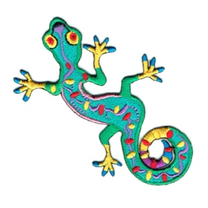 Iron on embroidered green gecko patch