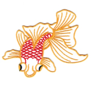 Iron on embroidered white goldfish patch
