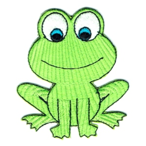 Iron on embroidered green frog patch
