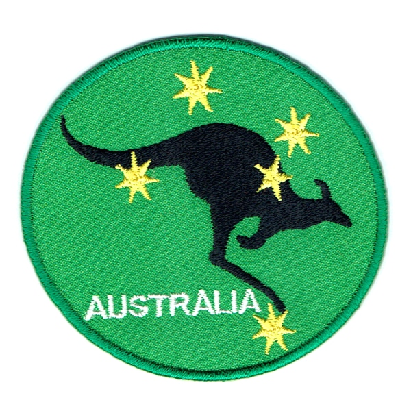 Iron on embroidered round green southern cross kangaroo patch