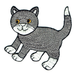 Iron on embroidered grey cat patch