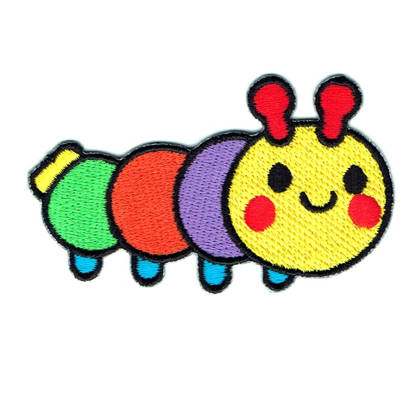 Cute iron on embroidered yellow, purple, orange and green segmented garden grub patch