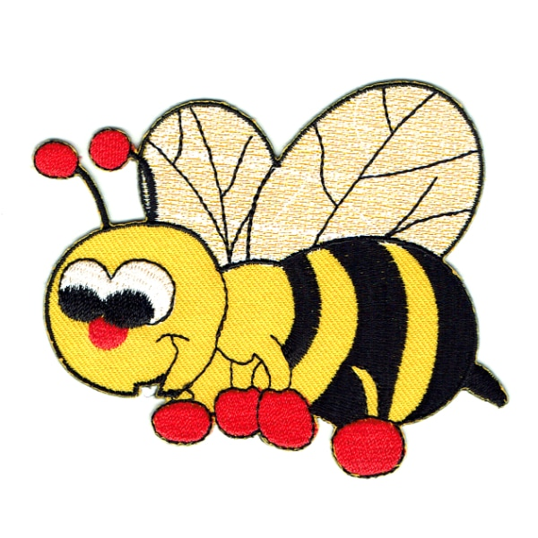 Cute iron on embroidered black and yellow bee patch.