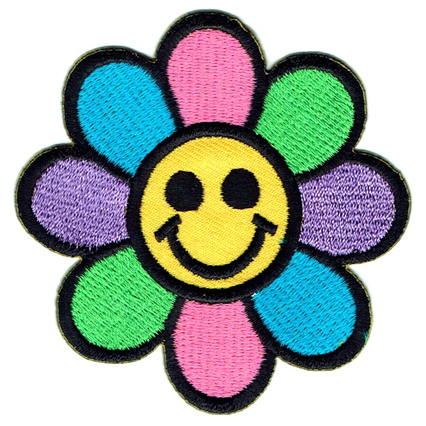 Iron on embroidered smiling colourful happy daisy flower patch