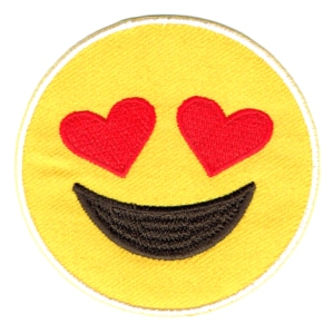 Iron on embroidered yellow emoji heart eye patch