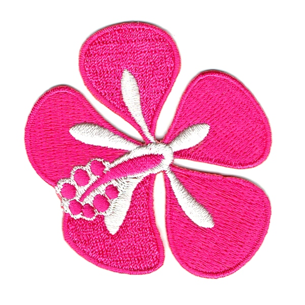 Iron on embroidered hot pink hibiscus patch