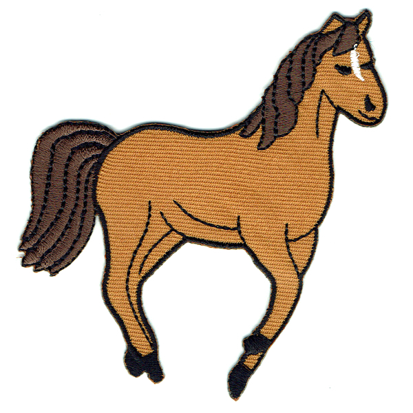Iron on embroidered brown horse patch
