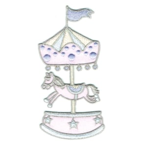 Iron on embroidered pink horse carousel patch