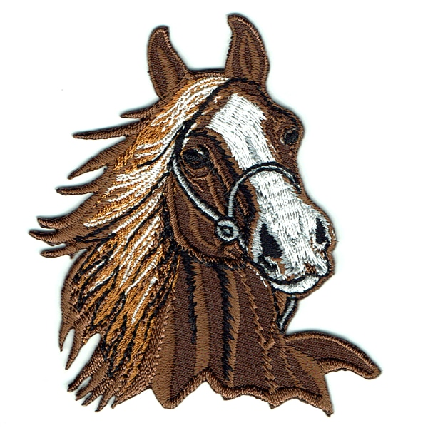 Iron on embroidered brown horse head patch