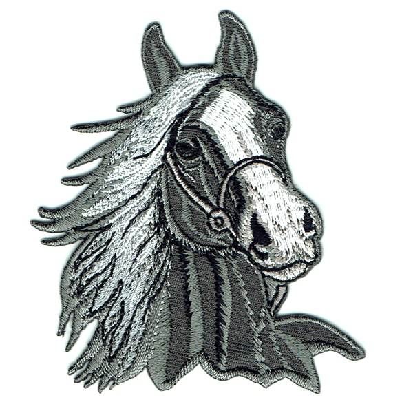Iron on embroidered grey horse head patch