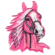 Iron on embroidered pink horse head patch