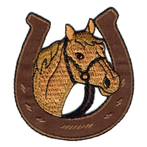 Iron on embroidered horse shoe head patch
