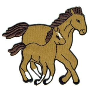 Iron on embroidered brown horse and foal patch