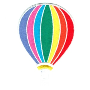 Iron on embroidered rainbow coloured hot air ballon patch
