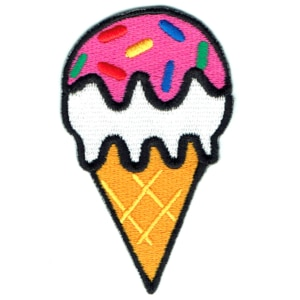 Iron on embroidered ice cream cone patch
