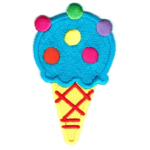 Iron on embroidered bubblegum ice cream cone patch