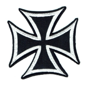 Iron on embroidered black iron cross patch