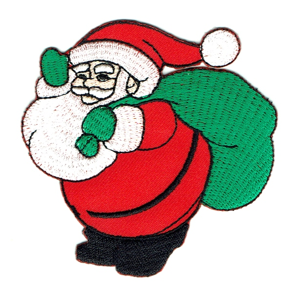 Iron on embroidered jolly santa with present sack patch
