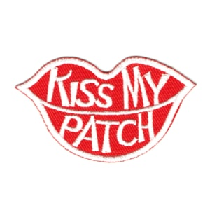 Iron on embroidered lip shaped kiss my patch