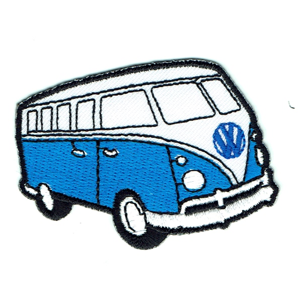 Iron on embroidered blue kombi van patch