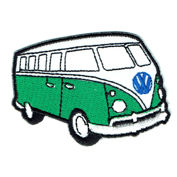 Iron on embroidered green kombi van patch