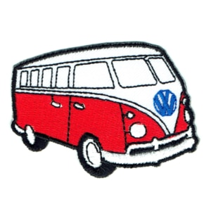 Iron on embroidered red kombi van patch