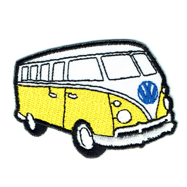 Iron on embroidered yellow kombi van patch