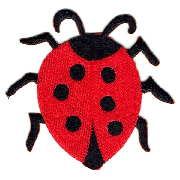 Black and red embroidered lady bug iron on patch