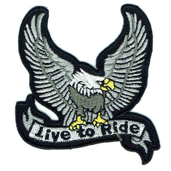 Iron on embroidered silver live to ride eagle patch