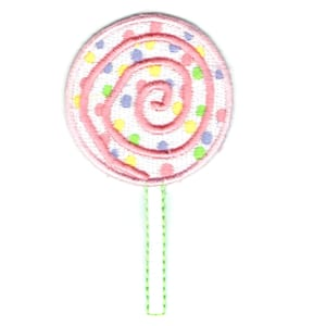 Iron on embroidered pastel coloured lollipop patch