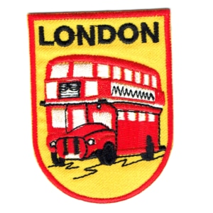 Iron on embroidered London Bus patch