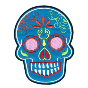 Iron on embroidered blue Mexican sugar skull patch