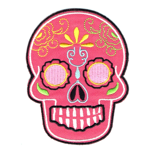 Iron on embroidered pink Mexican sugar skull patch